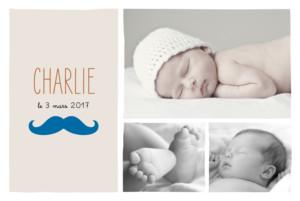 Faire-part de naissance Moustache paysage 3 photos turquoise