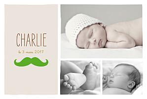 Faire-part de naissance beige moustache paysage 3 photos verte
