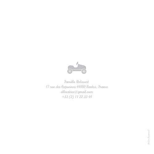 Faire-part de naissance Bilingue petite voiture gris - Page 4