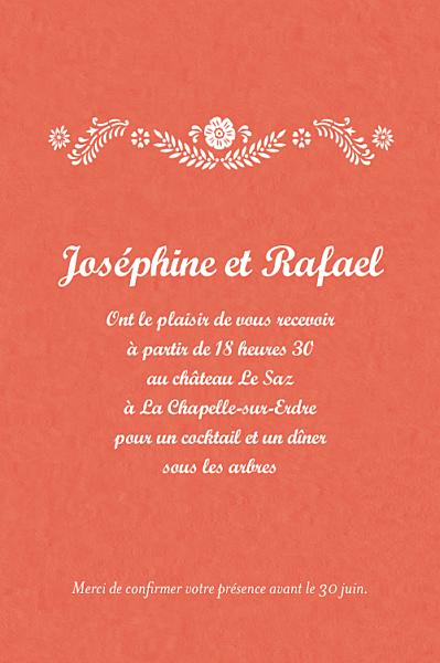 Carton d'invitation mariage Papel picado corail finition