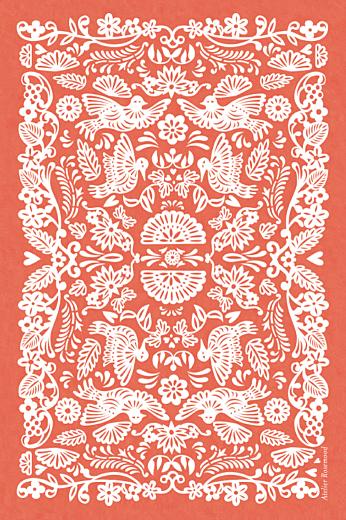 Carton d'invitation mariage Papel picado corail - Page 2