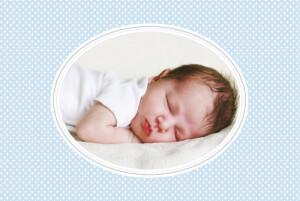 Faire-part de naissance Motif chic photo paysage bleu dragee