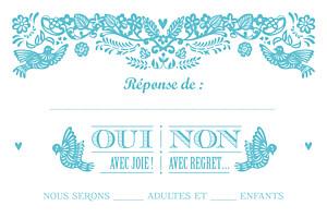 Carton réponse mariage Papel picado turquoise