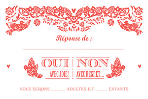 Carton réponse mariage rouge papel picado corail