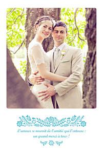 Carte de remerciement mariage Papel picado (portrait) turquoise