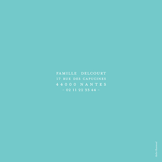 Faire-part de naissance Justifié turquoise
