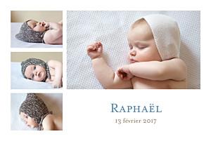 Faire-part de naissance jumeaux classique 4 photos paysage blanc