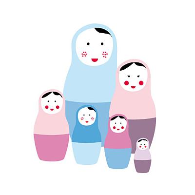 Faire-part de naissance 6 poupées russes rose bleu finition