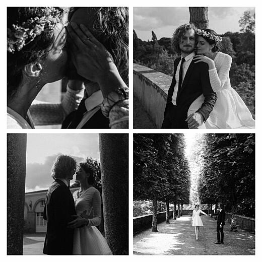 Carte de remerciement mariage Simple 4 photos blanc