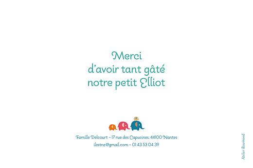 Carte de remerciement Patrouille 4 éléphants turquoise