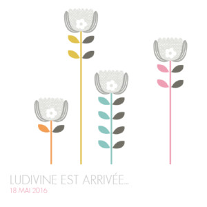 Faire-part de naissance Printemps scandinave photo gris