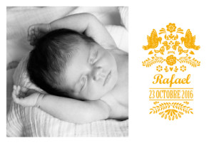 Faire-part de naissance Papel picado photo orange