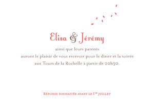 Carton d'invitation mariage Bouquet corail
