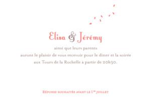 Carton d'invitation mariage Grand bouquet corail