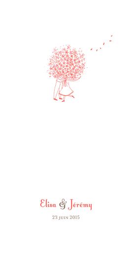 Menu de mariage Bouquet (panoramique) corail
