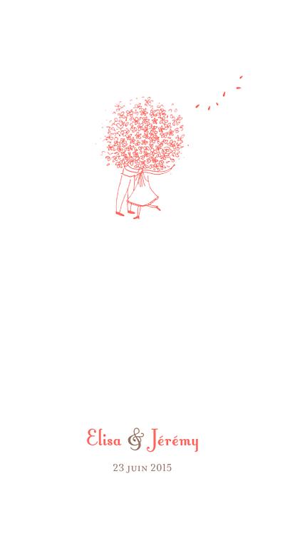 Menu de mariage Bouquet (panoramique) corail finition