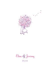 Menu de mariage violet bouquet lilas