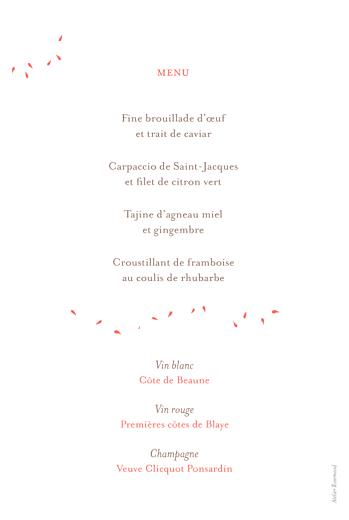 Menu de mariage Bouquet corail