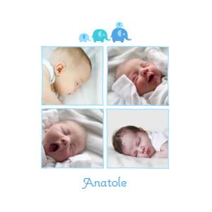 Faire-part de naissance 4 éléphants 4 photos bleu