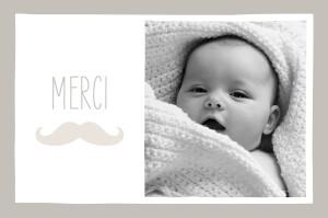 Carte de remerciement Moustache paysage photo taupe