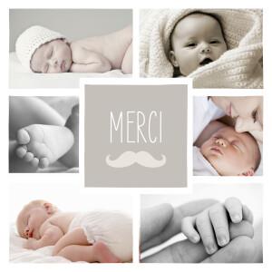 Carte de remerciement Moustache 6 photos taupe