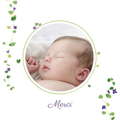 Carte de remerciement Petite capucine photo violet finition
