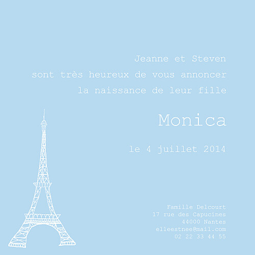 Faire-part de naissance Bilingue france-italie bleu dragée