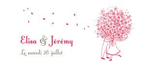 Etiquette de mariage Bouquet rouge