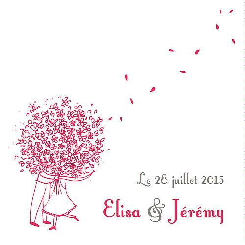 Etiquette de mariage Bouquet (carré) rouge