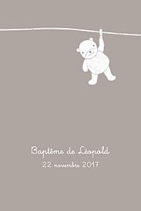 Menu de baptême beige linge peluche (4 pages) taupe