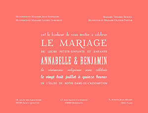 Faire-part de mariage orange le plus beau jour corail