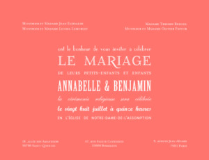 Faire-part de mariage Le plus beau jour corail