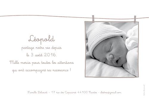 Faire-part de naissance Linge peluche garçon rv taupe - Page 2