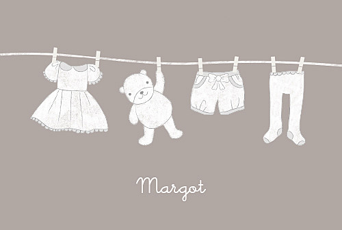 Faire-part de naissance Linge peluche fille photo rv taupe