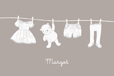 Faire-part de naissance Linge peluche fille photo rv taupe finition