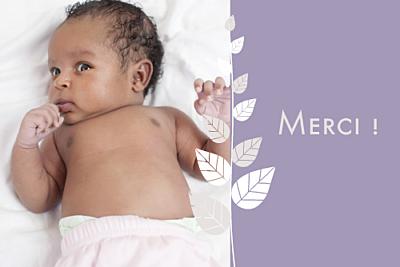 Carte de remerciement Petit élégance fille rv violet finition
