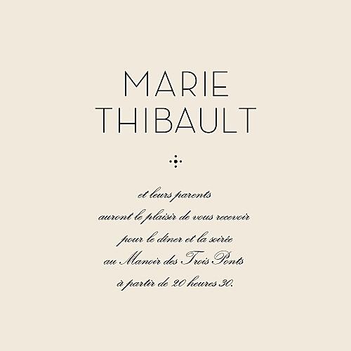 Carton d'invitation mariage Boudoir beige noir