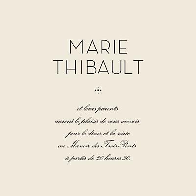 Carton d'invitation mariage Boudoir beige noir finition