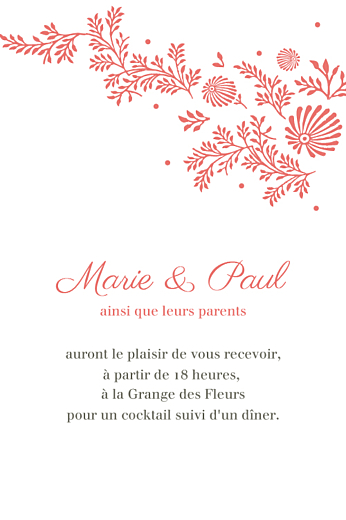 Carton d'invitation mariage Idylle corail - Page 1