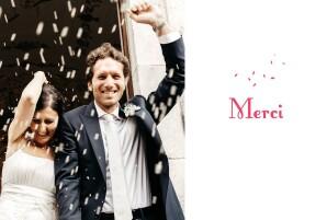 Carte de remerciement mariage Bouquet paysage rouge