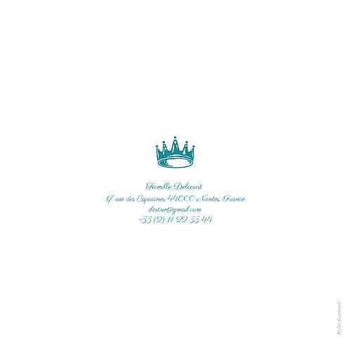 Faire-part de naissance Bilingue couronne turquoise