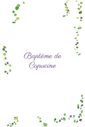 Menu de baptême Capucine photo violet