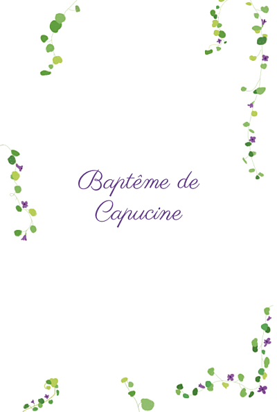 Menu de baptême Capucine photo violet finition
