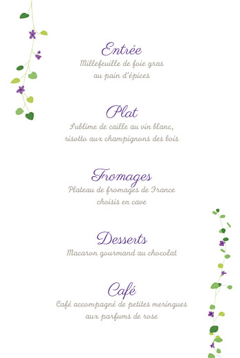 Menu de baptême Capucine photo violet - Page 3