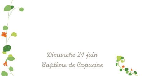 Marque-place Baptême Capucine orange