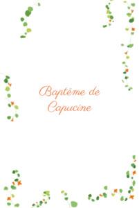 Menu de baptême Capucine orange