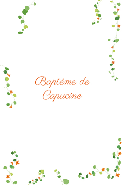 Menu de baptême Capucine orange finition