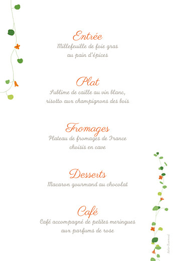 Menu de baptême Capucine orange - Page 2