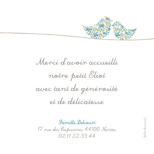 Carte de remerciement Merci poétique photo bleu