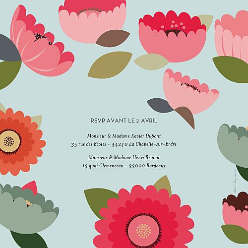 Faire-part de mariage Jardin bohème (4 pages) bleu